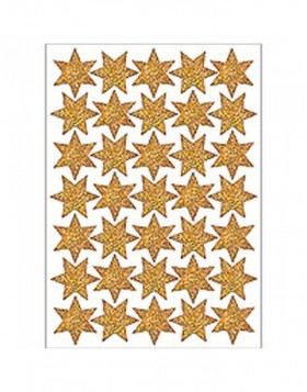 DECOR stickers stars with text gold foil 1 sheet