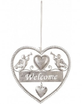 Deko-H�nger Welcome in silber gro�
