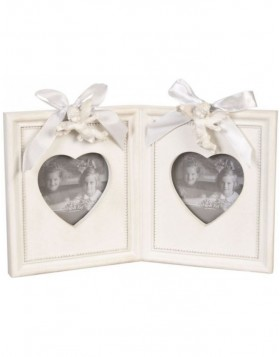 Double heart frame white 7x7 cm