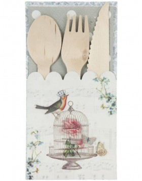 wooden cutlery set BIRD with paper case