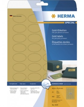 Labels gold foil 40,6x25,4 oval A4 LaserCopy