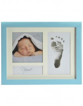 baby photo frame FIRST STEPS blue