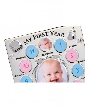 First Year Baby Frame, silver for 13 Photos