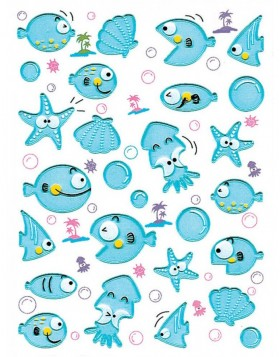 Schmucketiketten MAGIC Fische Transpuffy 1 Bl.