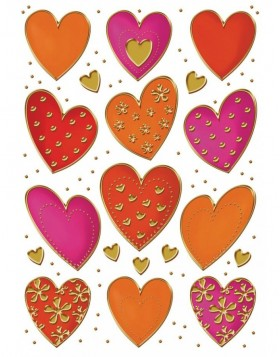 DECOR stickers Hearts, Gold embossing 2 sheet