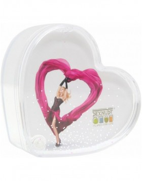Photo tin heart shaped with snow and tinsel