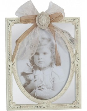 Photo Frame 15 x 20 cm with bow and Dekobrosche