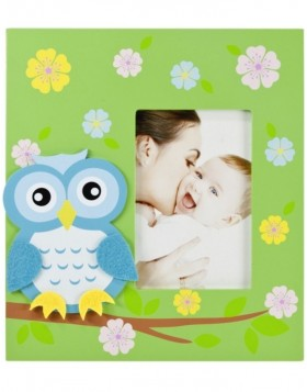 Photo frame Small owl 10x15 cm green