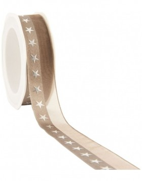 christmas ribbon STARS 15 meter light-brown
