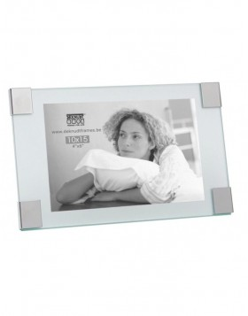 Glass frame Verre with silver corners 10x15 cm