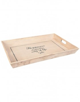 HAPPINESS wooden dinner tray
