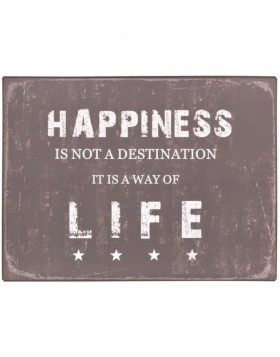 HAPPINESS tin-plate black - 6Y1356 Clayre Eef