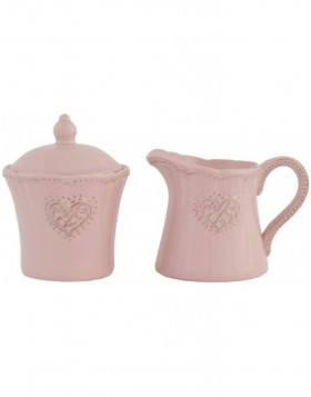 HEART pink milk jug and sugar bowl