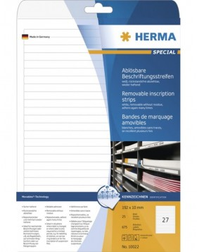 HERMA Removable inscription strips A4 192x10 mm white...