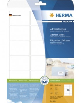 HERMA Address labels Premium A4 63,5x46,6 mm white paper...