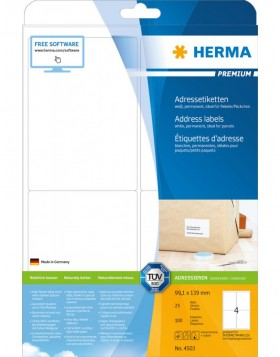 HERMA Address labels Premium A4 99,1x139 mm white paper...