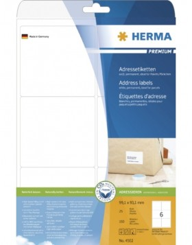HERMA Address labels Premium A4 99,1x93,1 mm white paper...
