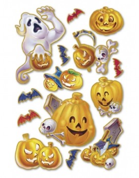 HERMA Sticker Halloween laughing pumpkins, Prismatic foil