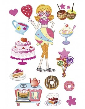 HERMA Sticker MAGIC Cake party, glittery foil