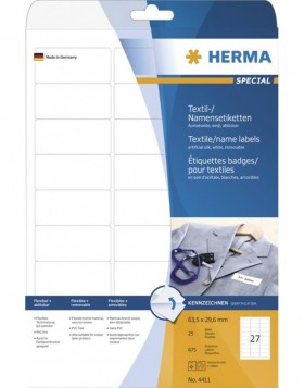 HERMA Name labels A4 63,5x29,6 mm white removable...