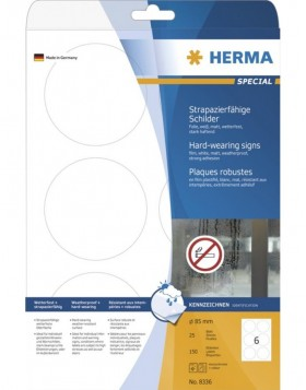 HERMA Signs hard-wearing A4 � 85 mm round white strong...