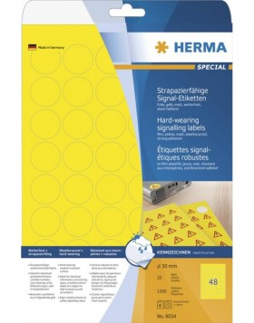 HERMA Labels signalling hard-wearing A4 � 30 mm round...