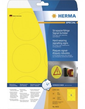 HERMA Signs signalling hard-wearing A4 � 85 mm round...