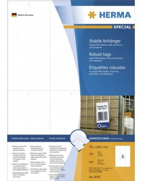 HERMA Robust tags A4 70x148,5 mm white paper/film/paper...