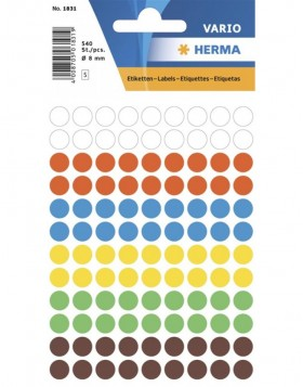 HERMA Multi-purpose labels ø 8 mm colours assorted 540 pcs.