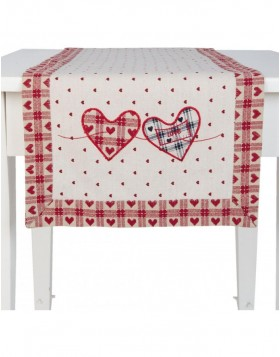 HEARTS table runner rot - 40x120 cm