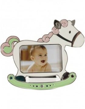 HORSE baby photo frame pink