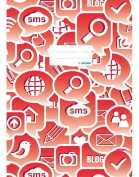 Exercise book cover A4 Social Icons red