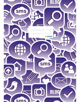 Exercise book cover A4 Social Icons purple