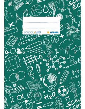 Exercise book cover A5 SCHOOLYDOO, dark green