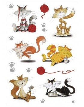 Decorative labels DECOR happy cats