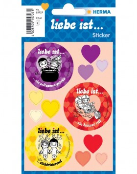Liebe ist ... (Love is...) heart shape stickers
