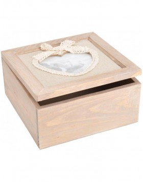Wooden storage box with heart