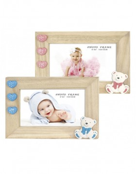 wooden baby photo frame PATTY blue or pink