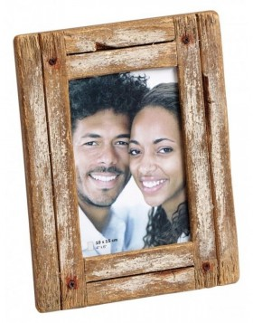 Wooden photo frame Dupla 10x15 cm white / natural