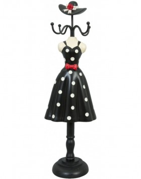 Wooden jewelry stand black woman 10x8x34 cm