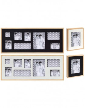 Double wooden frame and photo gallery