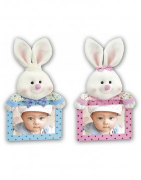 wooden frame with plush - BUNNY