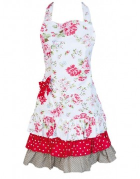 KT041.002 Clayre Eef FLOWER apron white/red