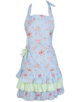 KT041.003 Clayre Eef apron FLOWERS blue