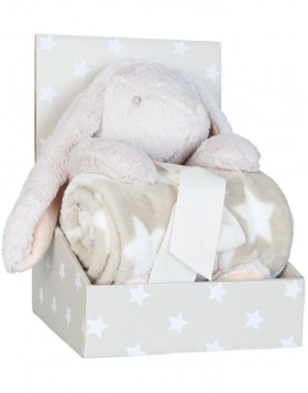 KT060.027 Clayre Eef plaid with plush rabbit beige