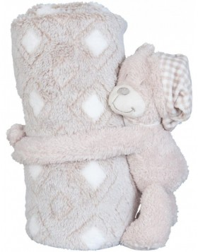 KT060.033 Clayre Eef plaid with plush bear beige