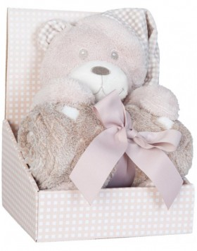 KT060.034 Clayre Eef plaid with plush bear beige