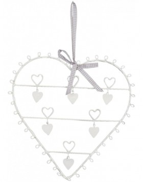 Card holder heart with ribbons 28x30 cm white