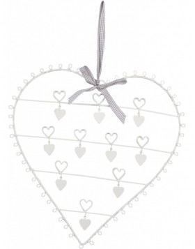 Card holder heart with ribbons 38x40 cm white