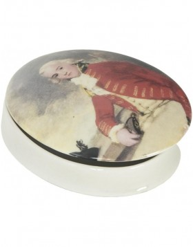 Ceramic jewelry box antique portrait 11x8x3 cm